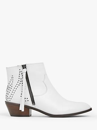 AND/OR Palomina Studded Western Leather Ankle Boots, White