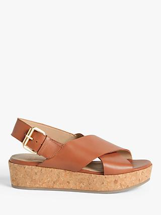 John Lewis & Partners Karlie Leather Cork Flatform Sandals