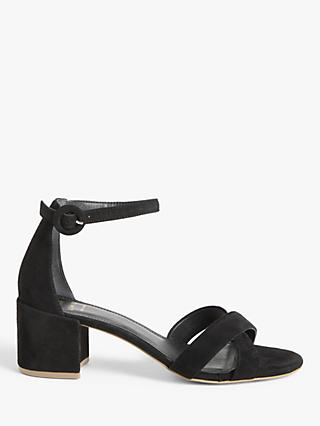 John Lewis & Partners Jonie Suede Block Heel Cross Strap Sandals