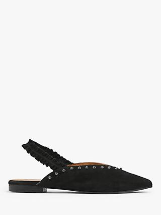AND/OR Harlow Suede Slingback Studded Flat Pumps, Black