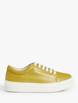 Kin Effie Lace Up Leather Trainers, Yellow