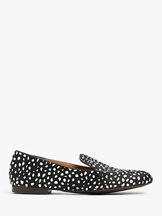 AND/OR Gabbi Spot Print Leather Loafers, Black/White
