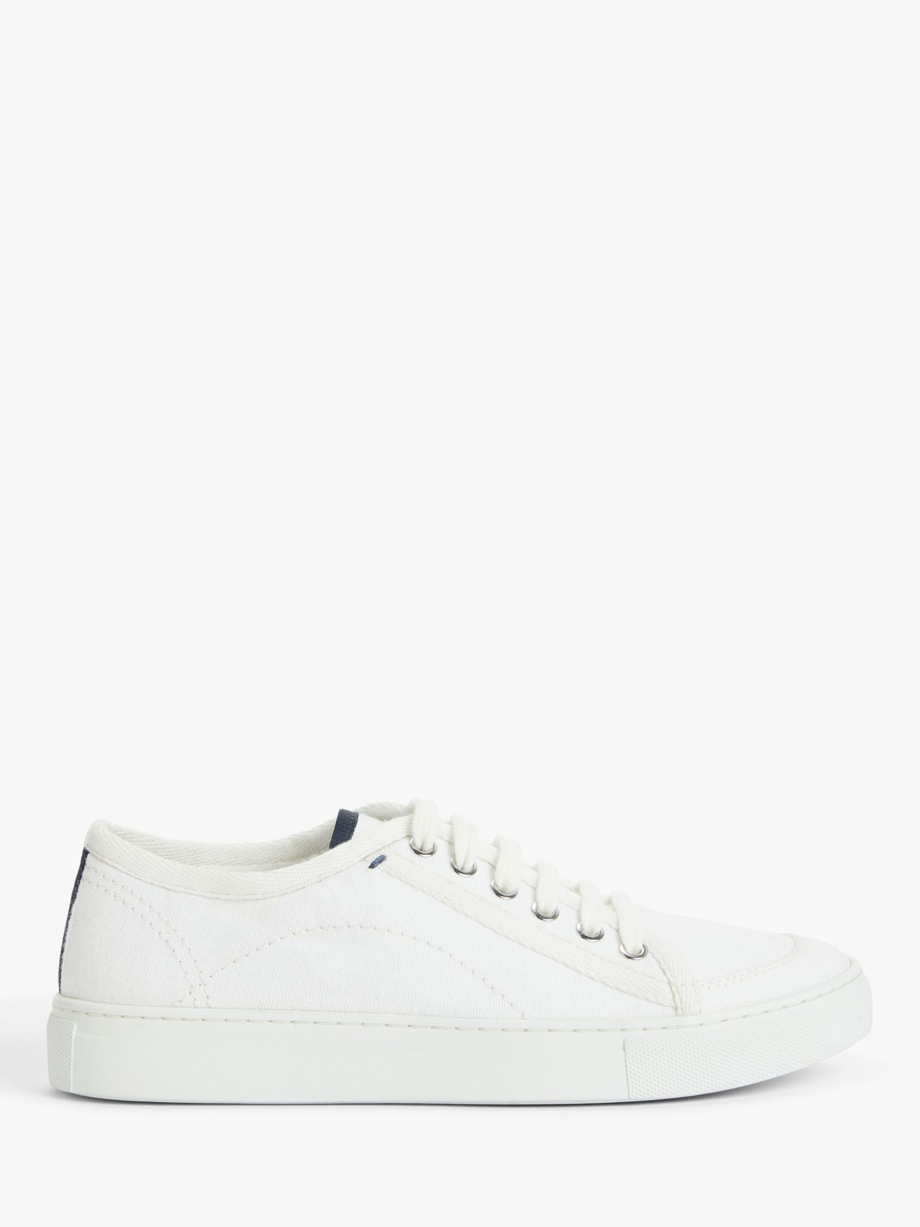 Buy Kin Eaden Canvas Lace Up Trainers, White, 3 Online at johnlewis.com