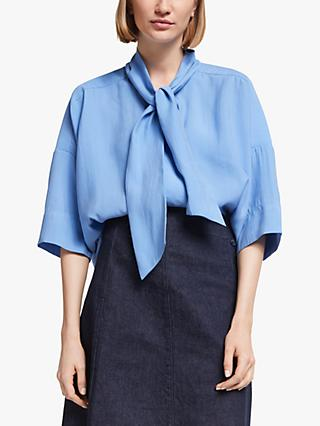 Kin Tie Neck Oversized Shirt, Blue