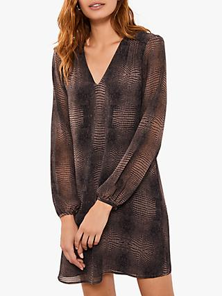 Mint Velvet Crocodile Print V-Neck Dress, Brown/Multi
