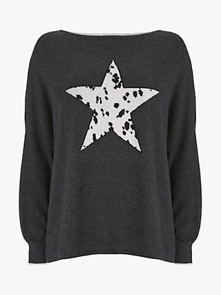 Mint Velvet Charcoal Dalmatian Star Knit, Dark Grey