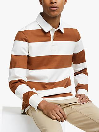 John Lewis & Partners Wide Stripe Rugby Top, Brown