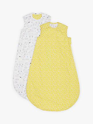 John Lewis & Partners Llama Animal Print Sleep Bag, Pack of 2, 1 Tog, Yellow/White