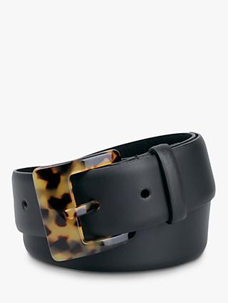 hush Bari Leather Jeans Belt, Black/Tortoise