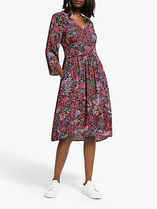 Numph Murran Floral Flared Sleeve Midi Dress, Multi