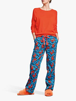 hush Fish Cotton Pyjama Bottoms, Blue/Fiesta