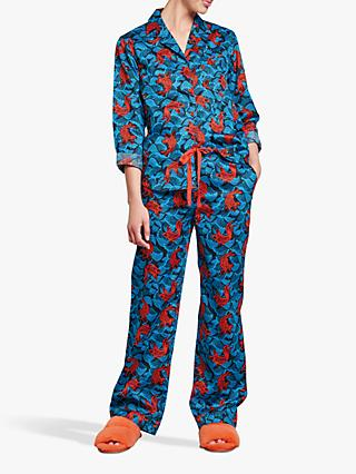 hush Fish Cotton Pyjama Set, Blue/Fiesta