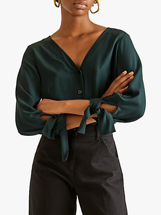 Jigsaw Tie Cuff Top, Deep Green