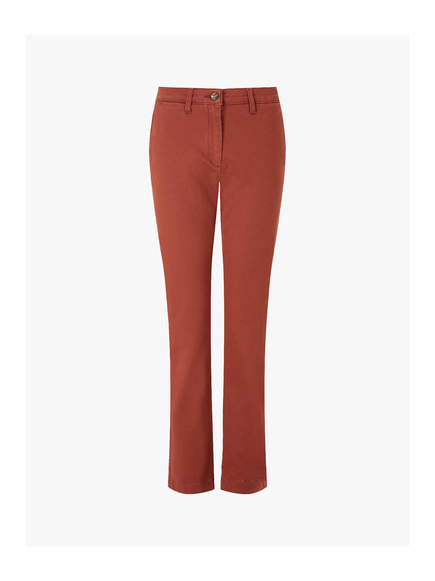 Buy Jigsaw Luxe Drill Cotton Chino, Chestnut, 6 Online at johnlewis.com