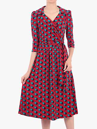Jolie Moi Revere Collar Wrap Front Midi Dress