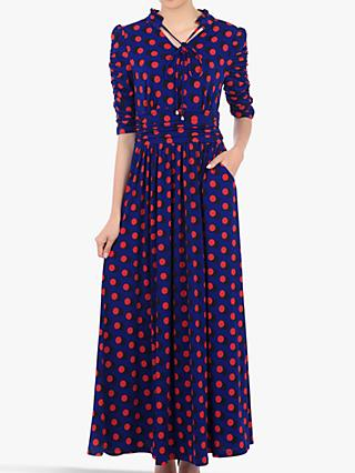Jolie Moi Tie Neck Half Sleeve Geo Print Dress, Blue/Multi