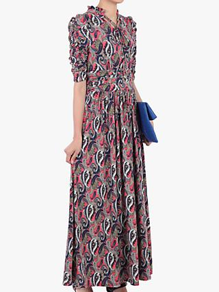 Jolie Moi Tie Neck Half Sleeve Paisley Print Dress, Pink/Multi