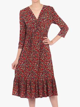 Jolie Moi Twist Front Flare Dress, Red Multi
