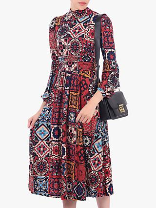 Jolie Moi Turtleneck Long Sleeve Midi Dress, Red/Multi