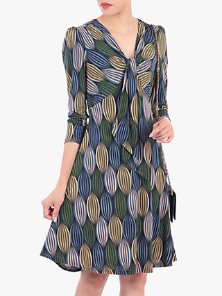 Jolie Moi Tie Front Sleeved A-Line Dress, Blue/Multi
