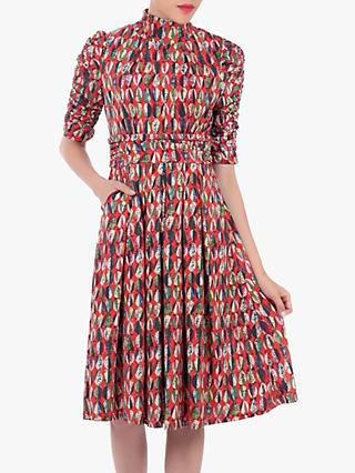 Jolie Moi Turtleneck Midi Dress, Red/Multi