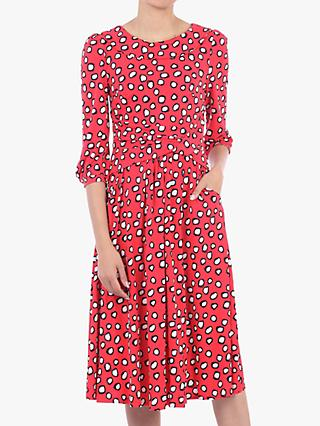Jolie Moi Roll Collar Spotted Shift Dress, Red Polka Dot