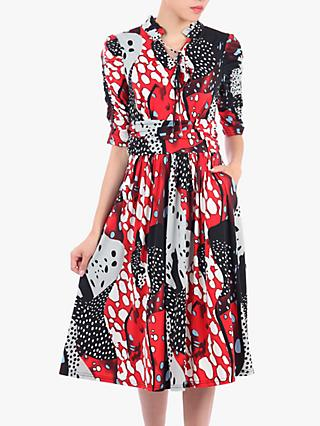 Jolie Moi Tie Front Half Sleeve Midi Dress, Red/Multi