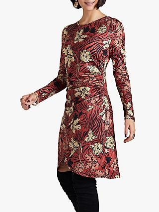 Yumi Floral Stripe Dress, Rust