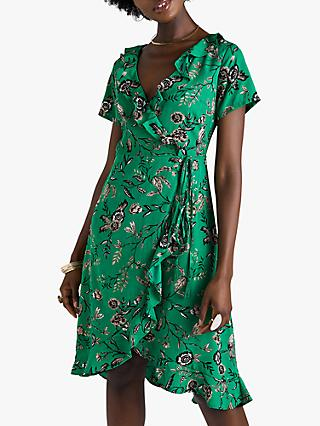 Yumi Floral Wrap Midi Dress, Green