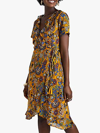 Yumi Abstract Floral Wrap Dress, Mustard