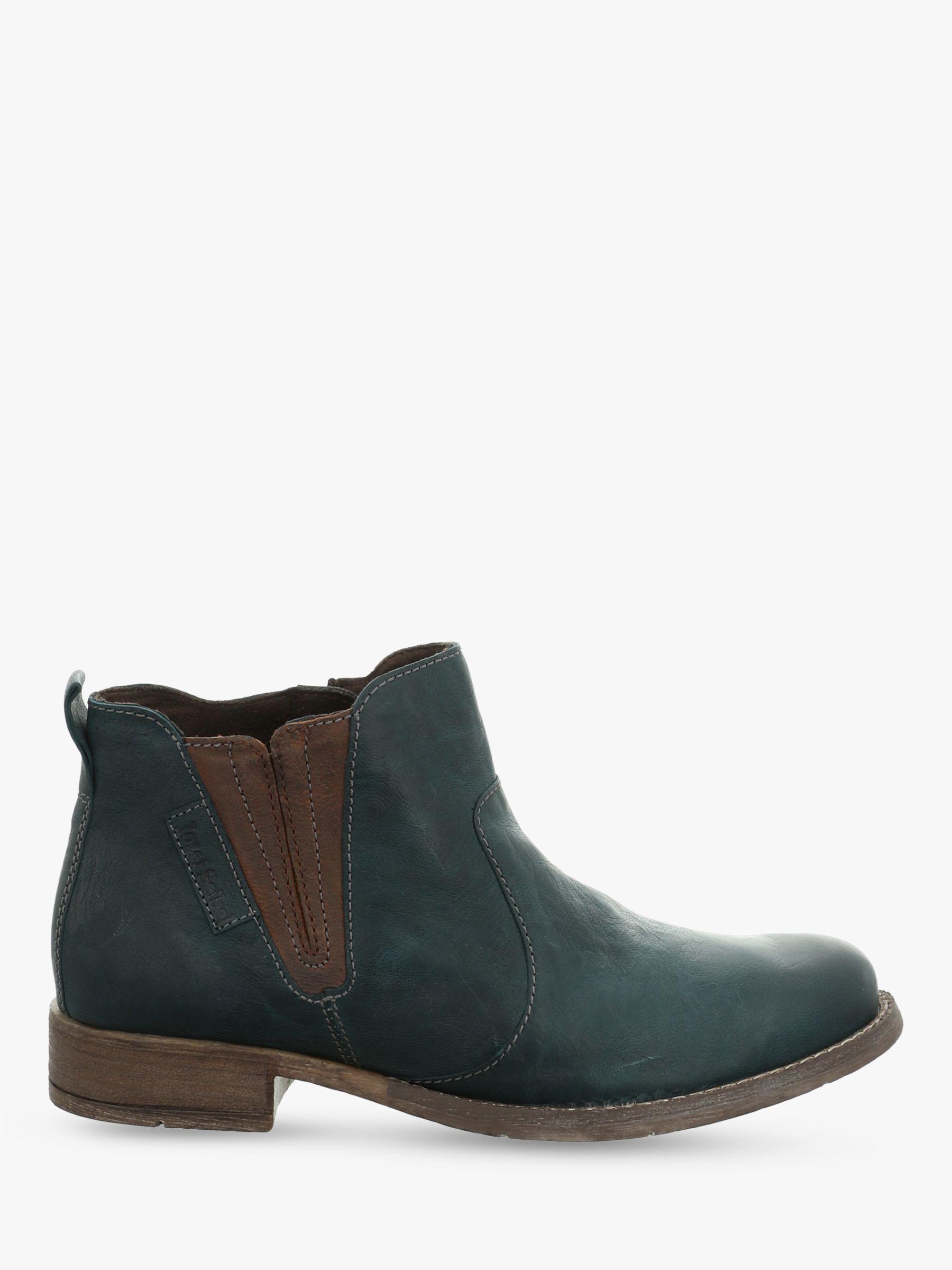 Josef Seibel Josef Seibel Sienna 45 Leather Block Heel Ankle Boots, Petrol Combi