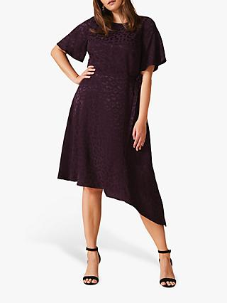 Studio 8 Zahara Jacquard Animal Print Dress, Blackcurrant