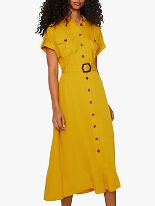 Warehouse Utility Shirt Midi Dress, Yellow