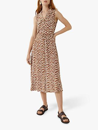Warehouse Woodgrain Dress, Tan