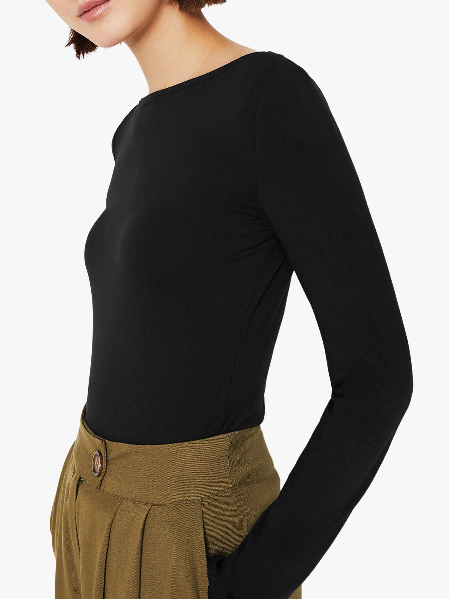 Warehouse Boat Neck Long Sleeve Top, Black by Warehouse
