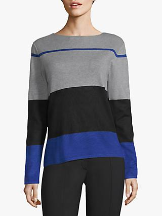 Betty Barclay Fine Knit Stripe Jumper, Grey/Black