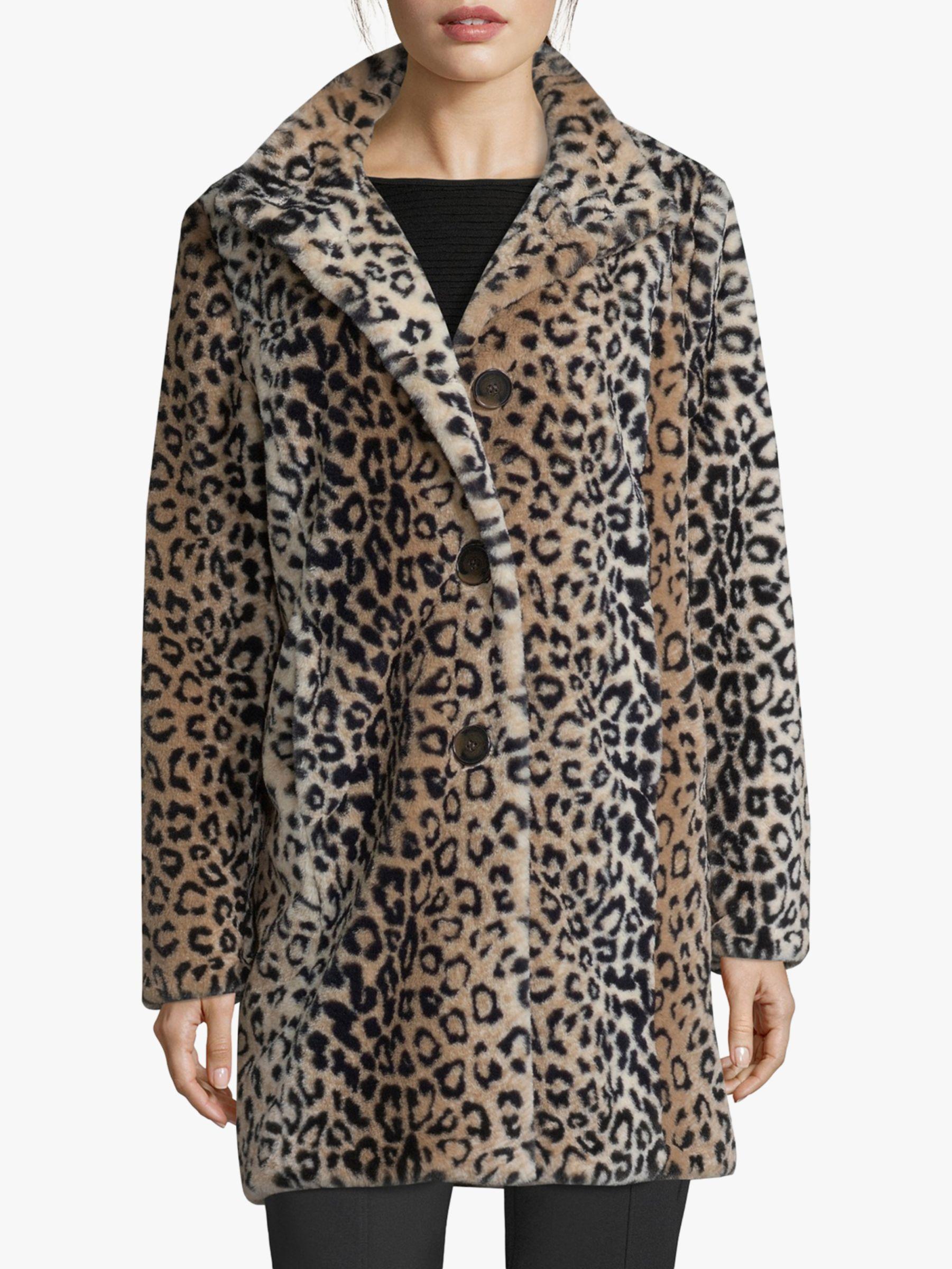 Betty Barclay Betty Barclay Faux Fur Animal Print Coat, Camel/Black