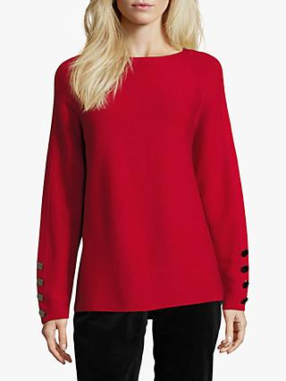 Betty Barclay Fine Ribbed Button Sleeve Jumper, Red Scarlet
