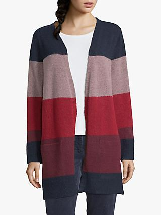 Betty Barclay Striped Cardigan, Dark Blue/Red