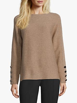 Betty Barclay Fine Ribbed Button Sleeve Jumper, Camel Melange