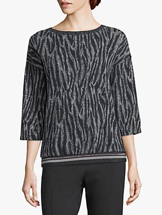 Betty Barclay Zebra Sweat Top, Grey/Black