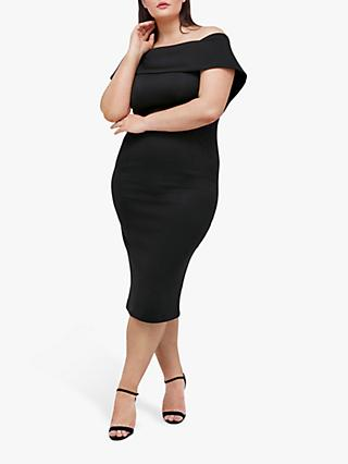 Coast Curve Scuba Bardot Dress, Black