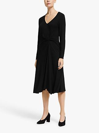 John Lewis & Partners Knot Waist Jersey Dress, Black
