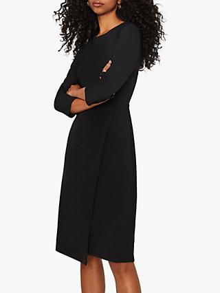 Warehouse Wrap Midi Dress, Black