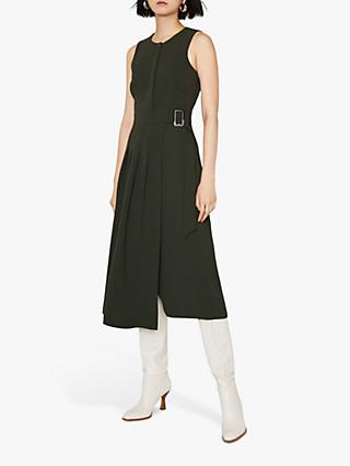 Warehouse Pleated Midi Dress, Khaki
