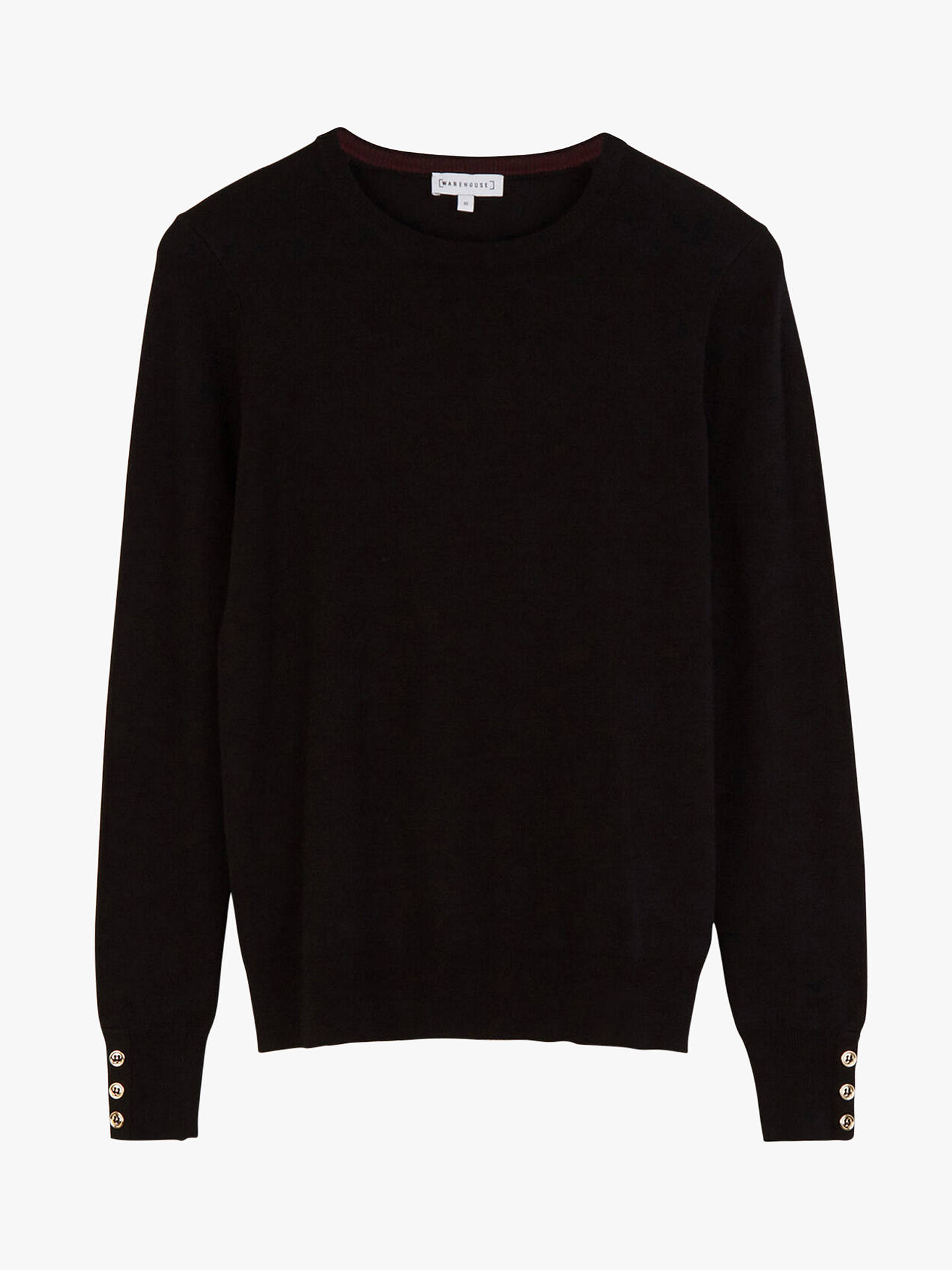 Buy Warehouse Button Cuff Knit Jumper, Black, 6 Online at johnlewis.com