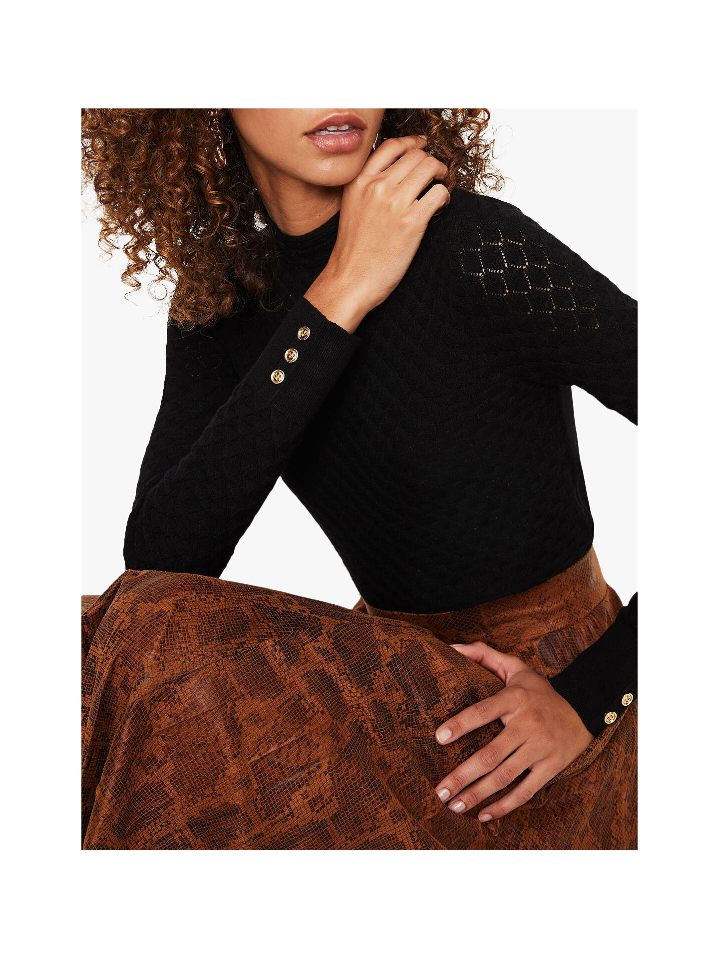 Warehouse Pointelle Jumper, Black by Warehouse