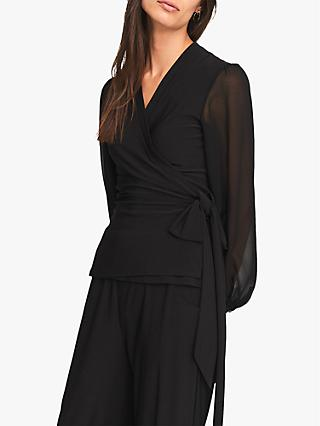 Phase Eight Corinne Wrap Top, Black