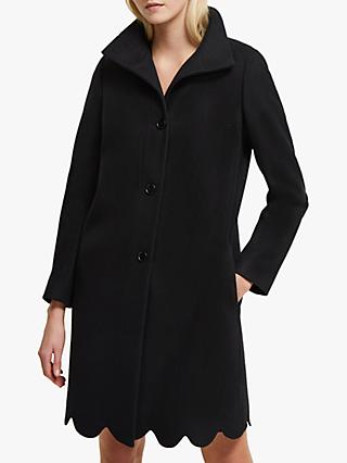 French Connection Carmelita Wool Blend Scallop Hem Coat, Black