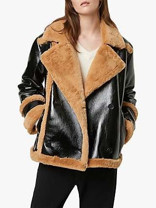 French Connection Filpa Faux Shearling Double Breasted Coat, Black